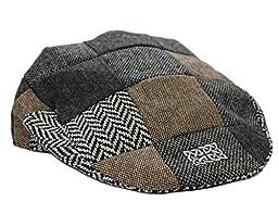 Patchwork Tweed Flat Cap Celtic Knot Badge Large