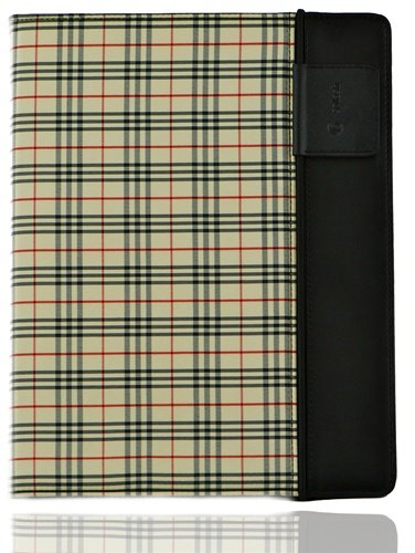 Splash SPL-IPD3-RDRP-PLDBRN Raindrop Leather Case iPad 2 and 3 with stylus (Plaid)