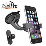 iBOLT miniPro Window / dash car mount for iPhone 5, 5c, 5S, iPhone 6, Samsung Galaxy S5 S4, Note 3, 4 & HTC One M8, works with protective cases.
