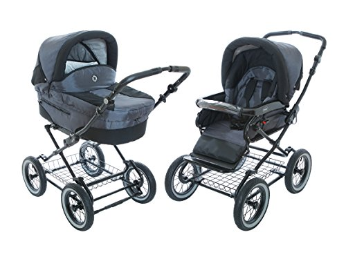 Roan-Rocco-Classic-Pram-Stroller-2-in-1-with-Bassinet-and-Seat-Unit-6-Six-Colors-Graphite