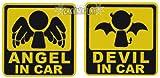 天使と悪魔 エンジェル&デビル 防水ステッカー あなたの愛車はどっちが乗ってる?
