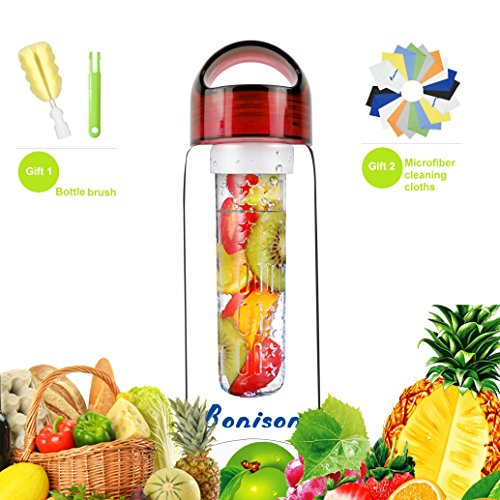 Bonison Sporty Tritan Infuser Safe Water Bottle Twist Watertight Loop Cap Carrying Handle (23 Oz Red-with 2 gifts) (Kool Aid Man Pitcher compare prices)