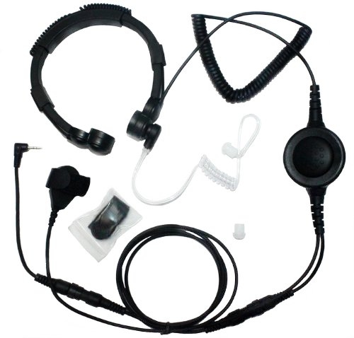 Secuda Military Grade Tactical Throat Mic Headset / Earpiece With Big Finger Ptt For Motorola Talkabout 2 Two Way Radio Walkie Talkie 1 Pin Jack