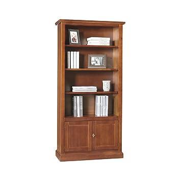 Libreria, stile classico, in legno massello e mdf con rifinitura in noce lucido - Mis. 90 x 41 x 186