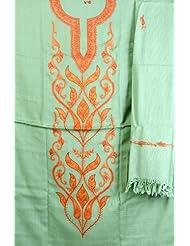 Exotic India Grass-Green Salwar Kameez Fabric From Kashmir With Ari Embr - Green