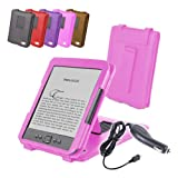 "DURAGADGET Pink Genuine Leather Case & Cover With Stand For Amazon's New Kindle, Wi-Fi, 6"" E Ink Display (Latest Generation) + Car Charger"