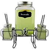 Pakkon 8 Piece Mason Jar Drink Dispenser Set With Stand, 2 Gallon Glass Beverage Dispenser with Spigot and Metal Lid | 6 Glass Mason Jars With Handles and Straws...