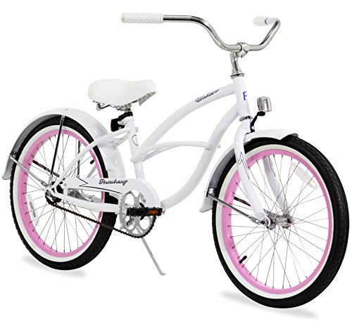Firmstrong Urban Girl Single Speed Beach Cruiser Bicycle, 20-Inch, White w/ Pink Rims (White 20 Inch Rims compare prices)