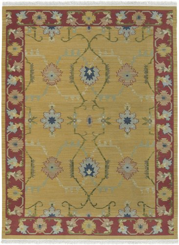 2' x 3' Rectangular Surya Accent Rug NMD703-23 Gold/Garnet Rose Color Handmade India