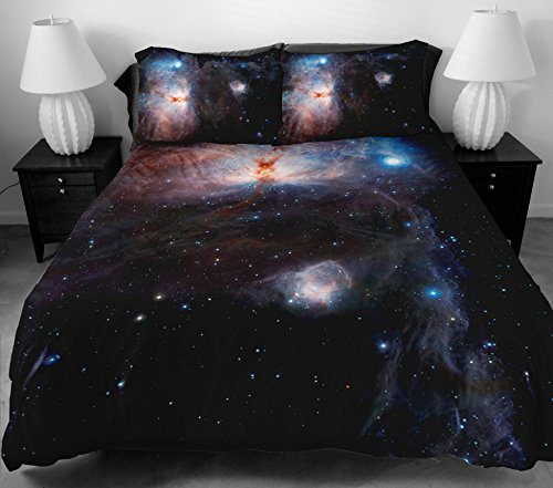Anlye Design Bedding Set Of Home Decor Ideas 2 Sides Printing 3D Dark Blue Sky Bed Sheets With 2 Blue Pillow Case Queen front-831757