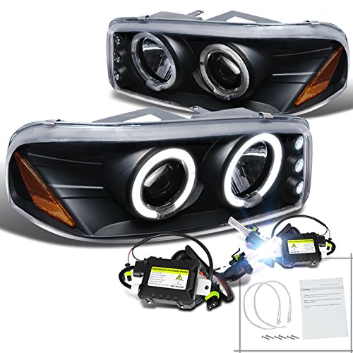 Sierra Denali Black Led Halo H1 White Slim Hid Projector Headlights Lamps