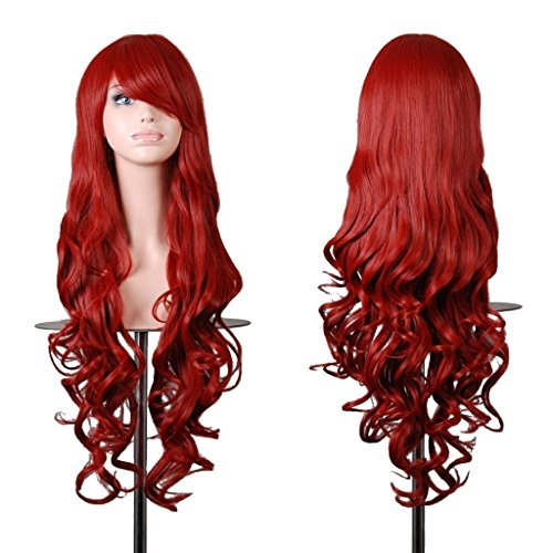 EmaxDesign Wigs 32 Inch Cosplay Wig For Women With Wig Cap and Comb(Dark Red) (Dark Red Wig compare prices)