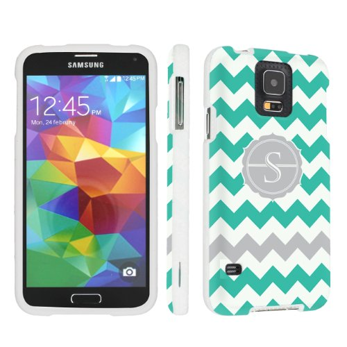 Skinguardz Samsung Galaxy S5 Hard Protection Case - (Mint Chevron Monogram Initial S White) front-596739