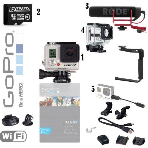 Gopro Hero3+ 10Mp Full Hd 1080P 60 Fps Built-In Wi-Fi Waterproof Wearable Camera Silver Edition (Broadcasting Bundle)