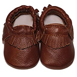 Baby Conda Handmade Brown Baby Moccasins * 100% Genuine Leather * Soft Sole Slip on Baby Shoes for Boys and Girls * 100% Money Back Guarantee Size 12 - 18 Months