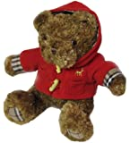 Holiday Honey Brown Teddy Bear Plush Stuffed Animal Toy with Red Fleece Jacket - 8.5 Inches Sitting