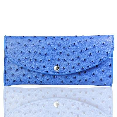Ladies Fashion Soft Ostrich Grain Simulation Genuine Leather Wallet Blue