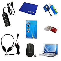 Shopaholic Laptop Kit Combo Pack - Wireless Mouse, Cleaning Kit, USB Hub, Keyboard Protector,Screen Protector, Headset, Card Reader, Mouse Pad.