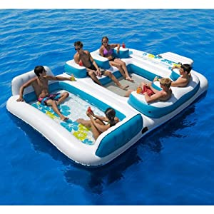 """Blue Lagoon Floating Island, For Age 14+. Inflated Size 148"""" * 158"""" * 31 """""""