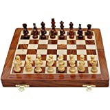 "SouvNear Handmade Rosewood Chess Set - Classic 10"" Inch Ultimate Wood Staunton Magnetic Travel Chess Game with Folding Storage Board in a Walnut Finish - Wooden Indoor Board Game Family Gifts for All"