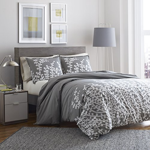 City Scene Branches Gray Cotton Duvet Cover Set, Full/Queen, Gray (Branches Duvet Cover compare prices)