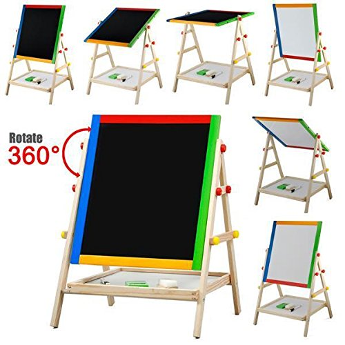 World Pride Kids Childrens Double-sided Standing Easel, Black Chalk Board/White Dry Ease Drowing Chalk Board,21-25.6 x 14.8 x 13.4