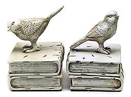 Vintage Style Decorative Dove Birds & Books Design Bookshelf Bookends / Paper Weights