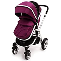 i-Safe System - Plum Trio Travel System Pram & Luxury Stroller 3 in 1 Complete With Car Seat + Rain Covers by iSafe