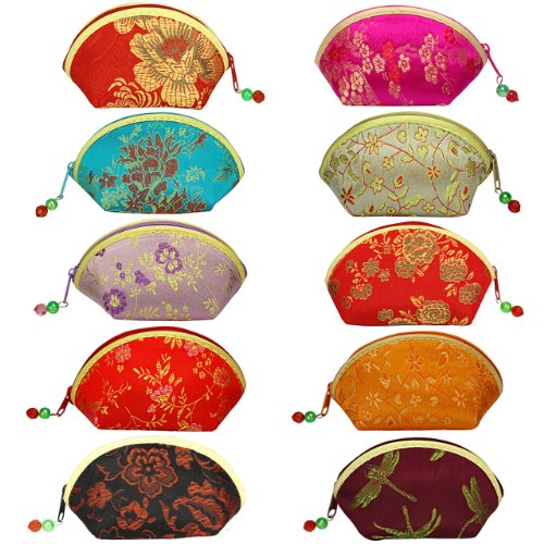 Silk Embroidered Brocade Oriental Fan Zipper Jewelry Coin Pouch Wallet Set of 10 - Various Colors