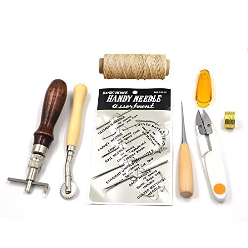 Review Of Hanperal leather Craft Hand Stitching Sewing Tool 7pcs Set Kit Thread Awl Waxed Thimble