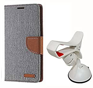 Aart Fancy Wallet Dairy Jeans Flip Case Cover for MicromaxA104 (Black) + Mobile Holder Mount Bracket Holder Stand 360 Degree Rotating (WHITE) by Aart Store