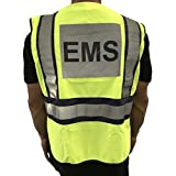 LINE2design Safety Vest EMS ANSI Polyester Fabric Yellow with Navy Trim, S-XXL, Average Size is Large, Adjustable