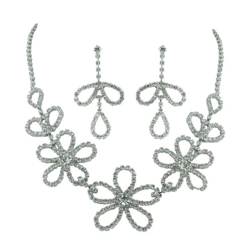 Brass Rhodium 15 inches + 3 Inches extensions Necklace Earrings Colorless Crystal Open Petals Flower