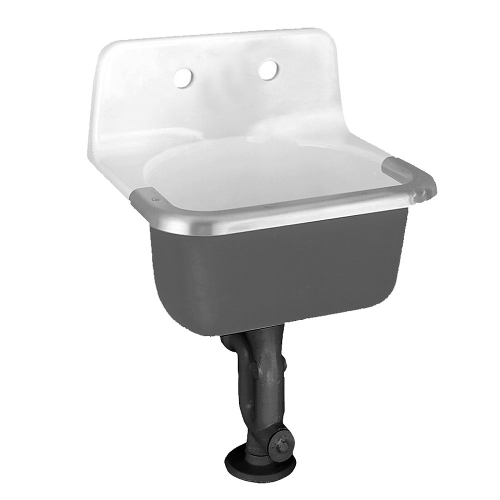 American Standard 7692.008.020 Lakewell Enameled Cast Iron Service Sink with 8-Inch Faucet Spacing, Drilled Back and Rim Guard, White