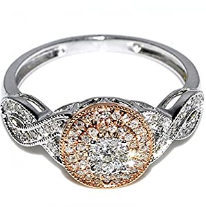 Diamond Engagement Ring Rose and White Gold 0.25ct 10K 9mm Halo pave set new