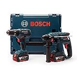 Bosch GBHGSB18 GSB 18-2-LI Plus GBH 18 V-EC Rotary Hammer Combi Drill Twinpack 2 X 4.0Ah Batteries In L-Boxx 0615990H5H