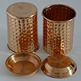 Copper Tumbler Set with Lid - Set of 2 Hammered Copper Tumbler Glasses of 12 oz (350 ml). Best Suited for a Moscow Mule Evening Drinks