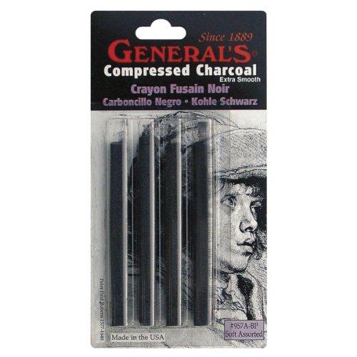 Compressed Charcoal Sticks 4/Pkg-Black - Soft Assorted