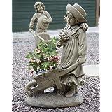 Large Garden Statues - Girl & Barrow Stone Sculpture