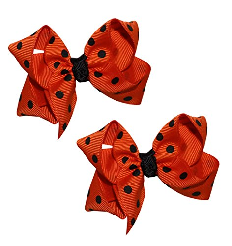 Webb Direct 2U Baby-Girls Set Of 2 Orange & Black Large Dotted Hair Bows 5160Set front-1014061