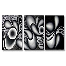 Neron Art - Handpainted Abstract Oil Painting on Gallery Wrapped Canvas Group of 3 pieces - Rostock 48X32 inch (122X81 cm)