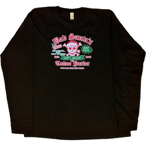 WOMENS LONG-SLEEVE T-SHIRT : BLACK - X-LARGE - Bad Santas Gift Shop and Tattoo Parlor GLITTER - Funny Christmas