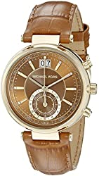 Michael Kors Women's MK2424 Sawyer Watch With Brown Leather Band
