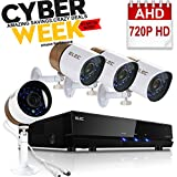 ELEC AHD 720P 2000TVL 8 Channel Remote Security System - Four 1.03Megapixel CCTV Bullet Cameras, 65ft Night Vision,support iPhone,Android NO Hard Drive
