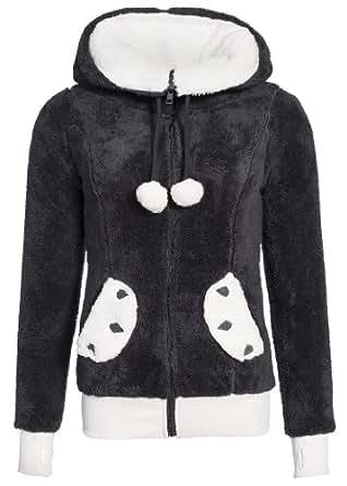Sublevel Teddy Fleece Jacket avec les yeux, Size:XS;Color:Dark Grey