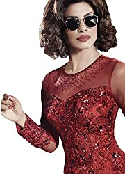 Justkartit Women's Rusty Red(Brownish) Colour Net with Sequence & Embroidery Work Stylish Salwar Kameez / Ceremony Wear Dress Material / Designer Wear Dresses / Latest Bollywood Collection (Wedding Wear Suit)