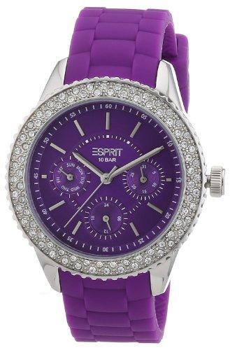 Esprit ES106222005 - Reloj analógico de cuarzo para mujer con correa de silicona, color morado