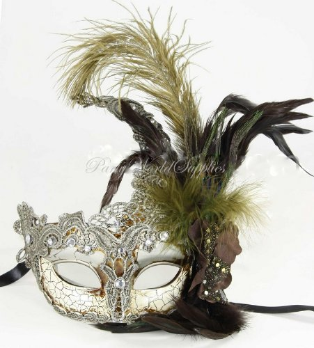 Lace Masquerade Ball Mask Venetian Mask Ostrich Feather Carnival Costume Party Mask