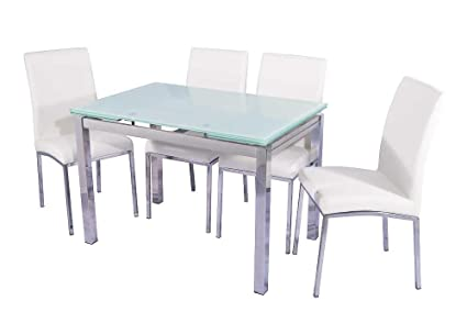 Conjunto mesa extensible y 4 sillas de comedor for Mesas de comedor amazon