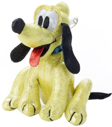 Japan Disney Official Mickey Mouse - Pluto the Pup Dog Cute Plush Toy Medium Size with Shiny Safety Pin Pet Animal Mascot Badge Jewel Collection Wonderful Interior Decorative Gift